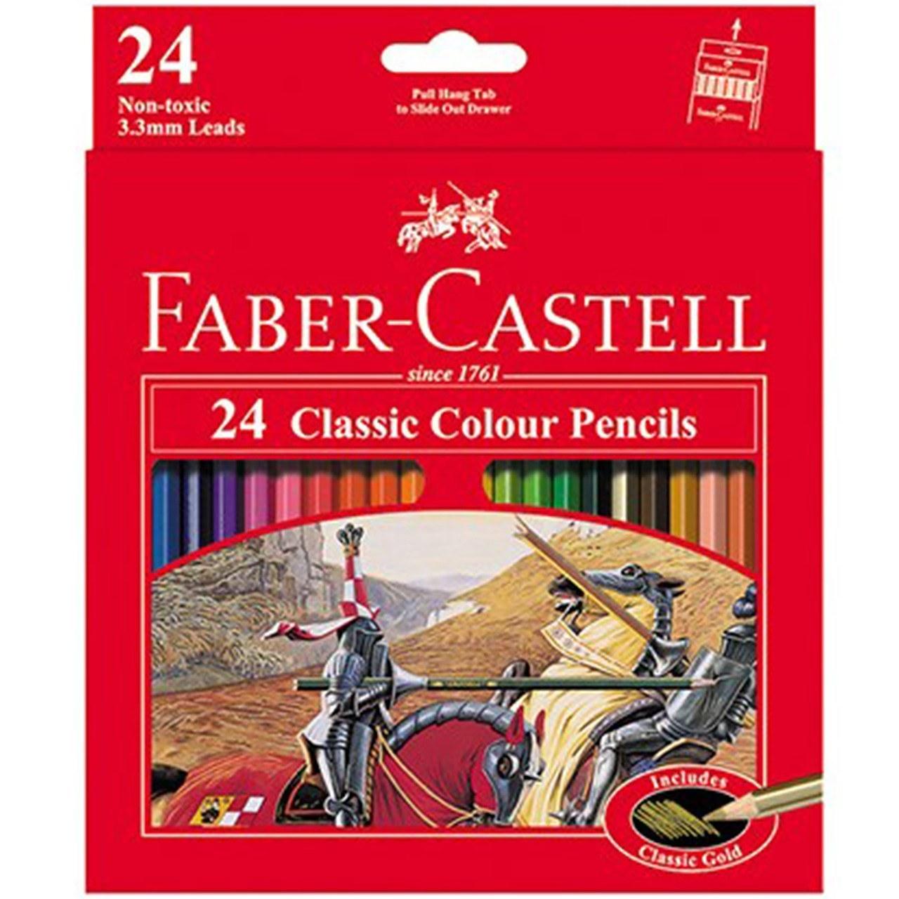 مدادرنگی 24 رنگ طرح کلاسیک faber castell |