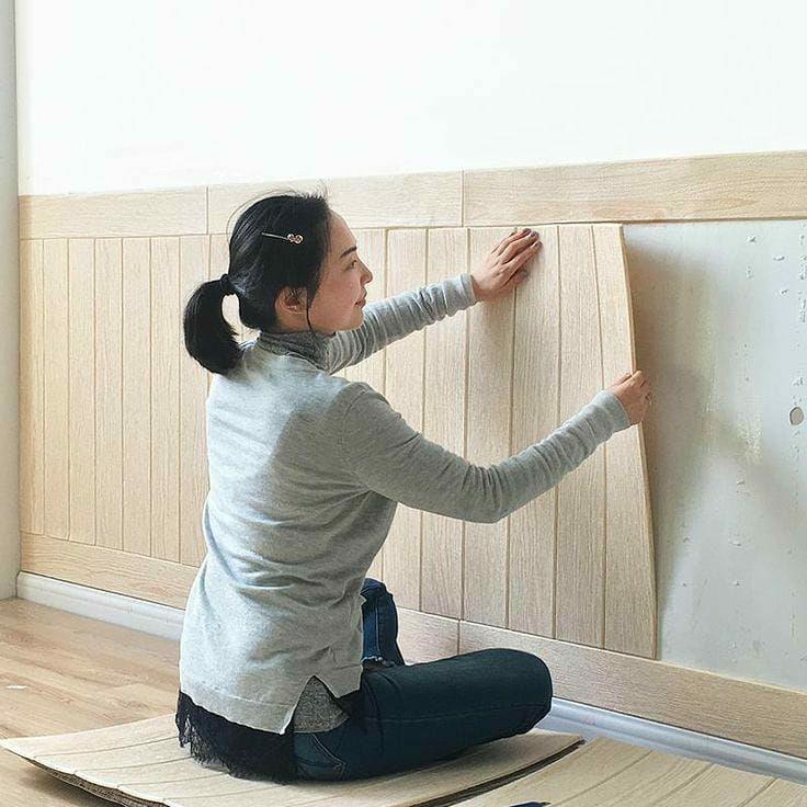 تصویر دیوارپوش فومی طرح چوب رنگ راش