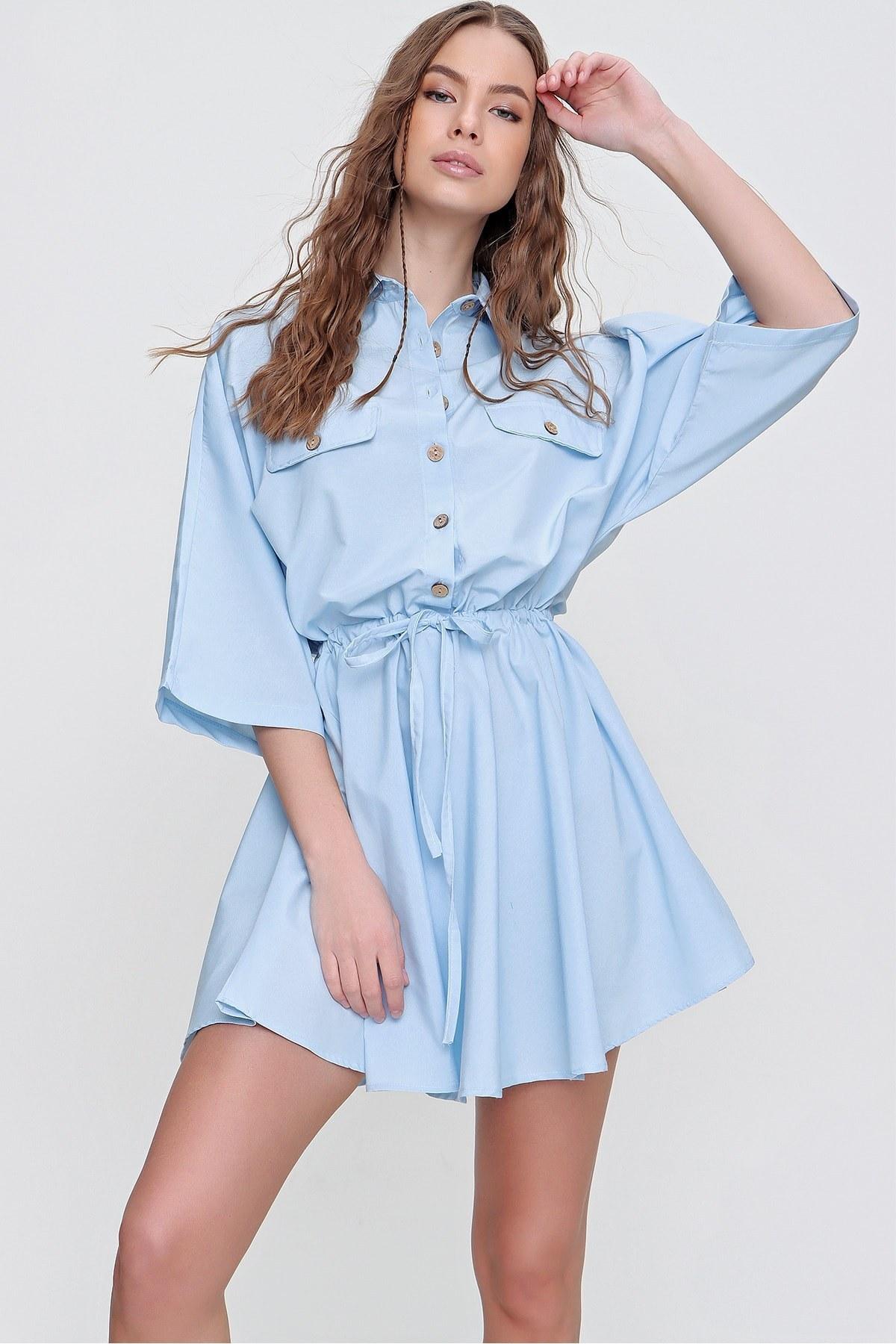 تصویر پیراهن زنانه بافته شده آبی برند Trend Alaçatı Stili کد 1618032352