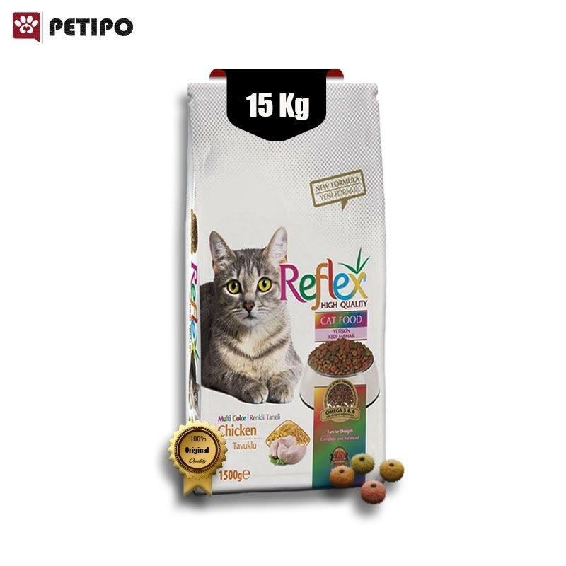 غذای خشک گربه مولتی کالر رفلکس با طعم مرغ وزن 15 کیلوگرم