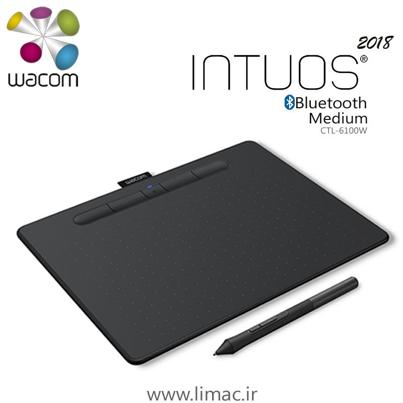 تبلت گرافیکی همراه با قلم دیجیتال وکام مدل Intuos Medium ۲۰۱۸ BT CTL-۶۱۰۰WL | Wacom Intuos Medium 2018 BT CTL-6100WL Graphic Tablet with Pen