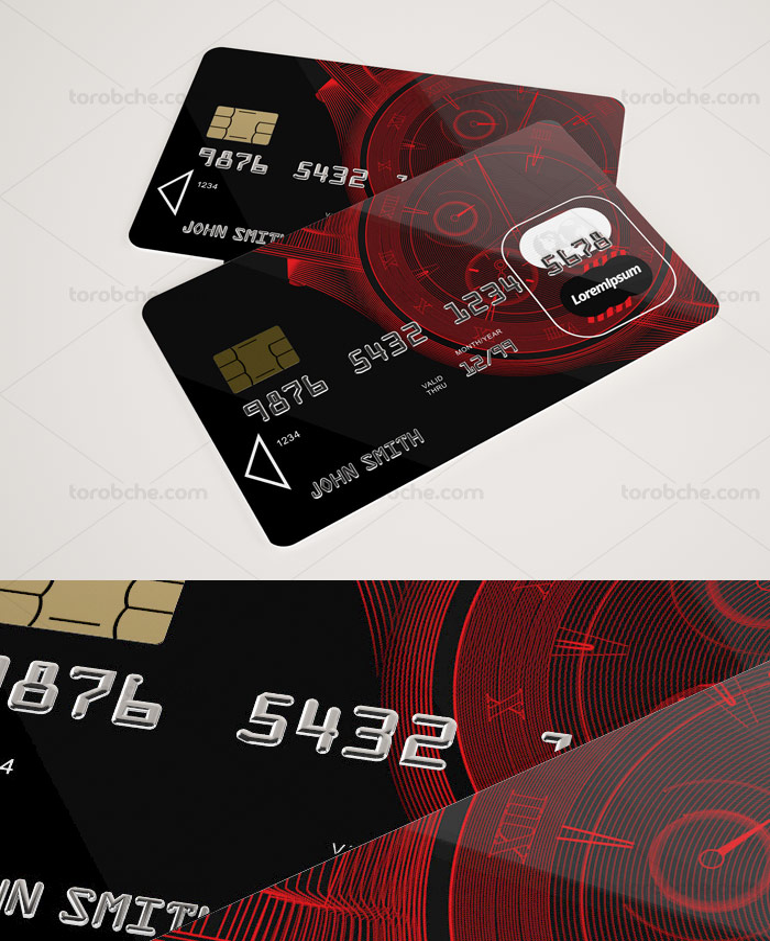 تصویر طرح لایه باز موکاپ کارت عابر بانک