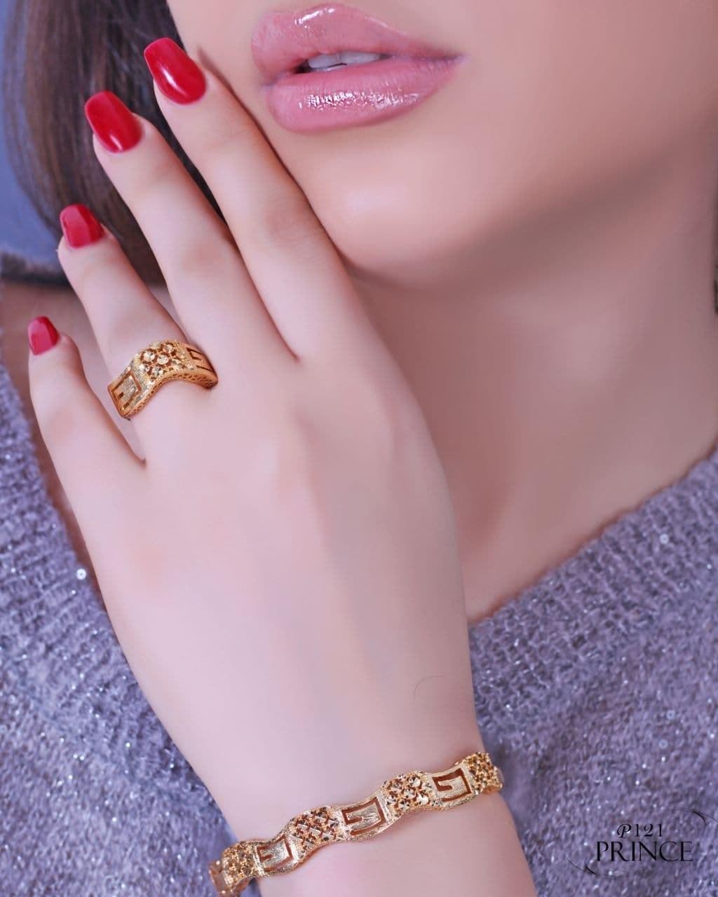 تصویر ست دستبند و انگشتر طرح طلا