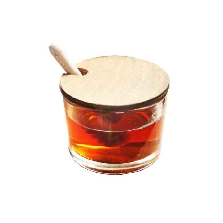 تصویر ظرف عسل خوری با درب چوبی