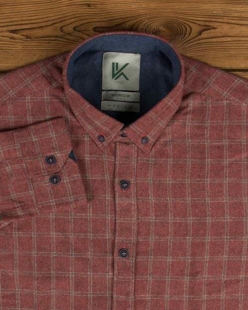 پیراهن پشمی چهارخانه مردانه آستین بلند |