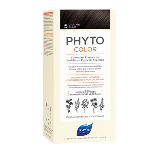 تصویر رنگ موی فیتو کالر شماره ۵  فیتو اصل | رنگ موی دائمی و گیاهی و بدون آمونیاک Phyto Phytocolor Ammonia-Free and Permanent Botanical Hair Color no5