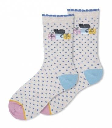 جوراب ساقدار Ekmen طرح هدیههای گربه کرم |