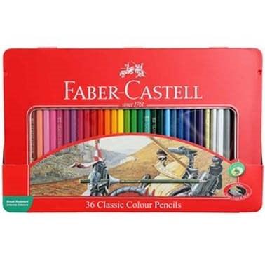 تصویر مداد رنگی 36 رنگ جعبه فلزی فابر کاستل