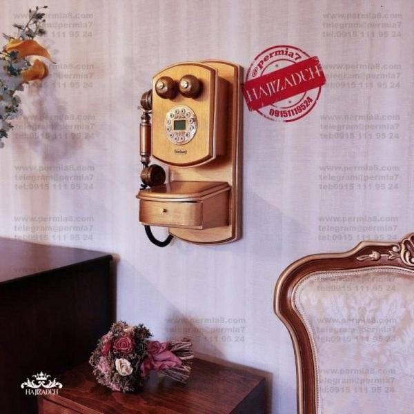 تصویر تکنیکال تلفن دیواری نوژان کشو دار کوچک طلایی خش  1035