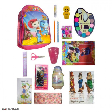 تصویر پکیج لوازم تحریر دخترانه اقتصادی کلاس 2 تا 4 Economical Package Girls Economical Stationery Package for Girls 2 to 4