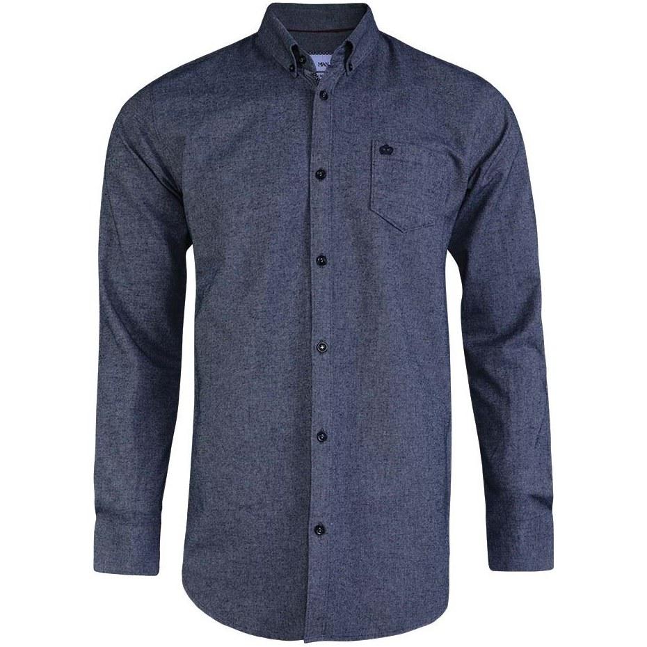 پیراهن مردانه آستین بلند کرکی ساده آبی تیره