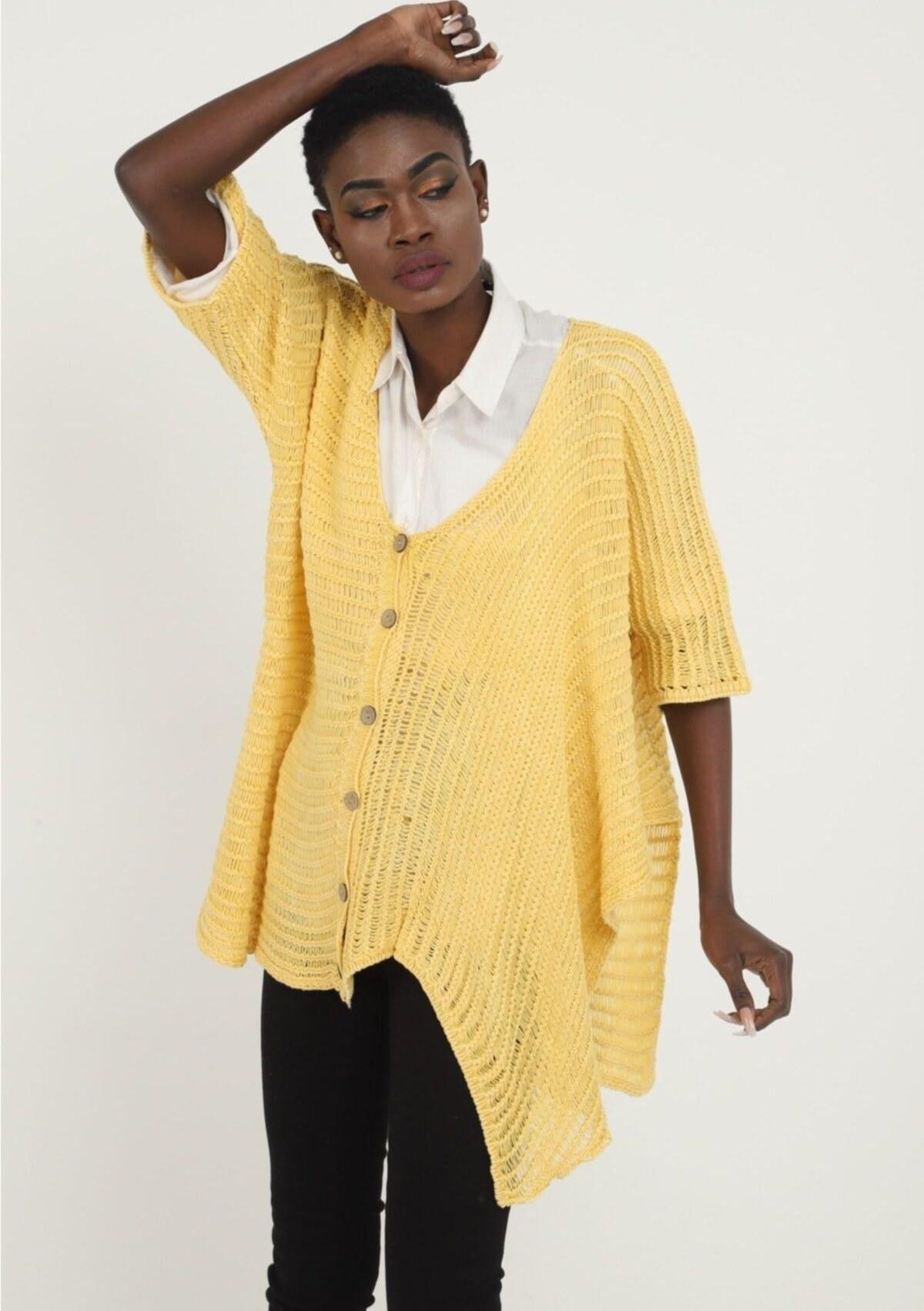 تصویر پلیور زنانه شیک جدید برند SCHS TEXTİL رنگ زرد ty106254212