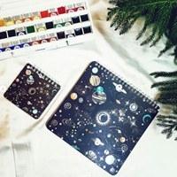 تصویر دفتر مربعی نقاشی مدل کهکشانی