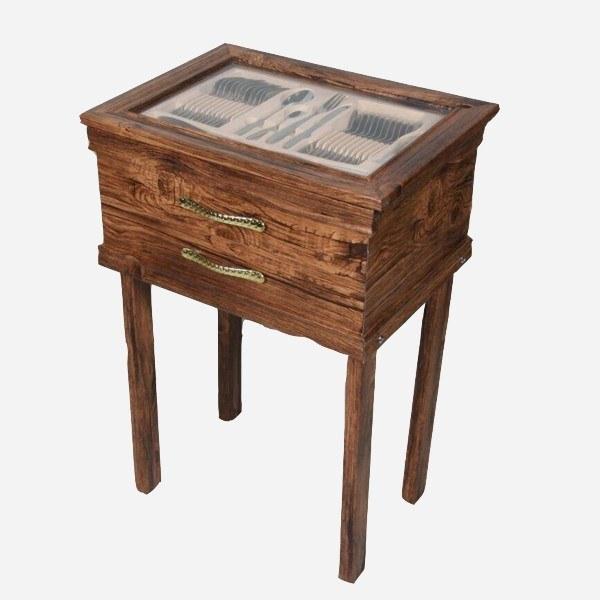 تصویر کنسول چوبی پایه دار سرویس قاشق و چنگال طرح دالاس