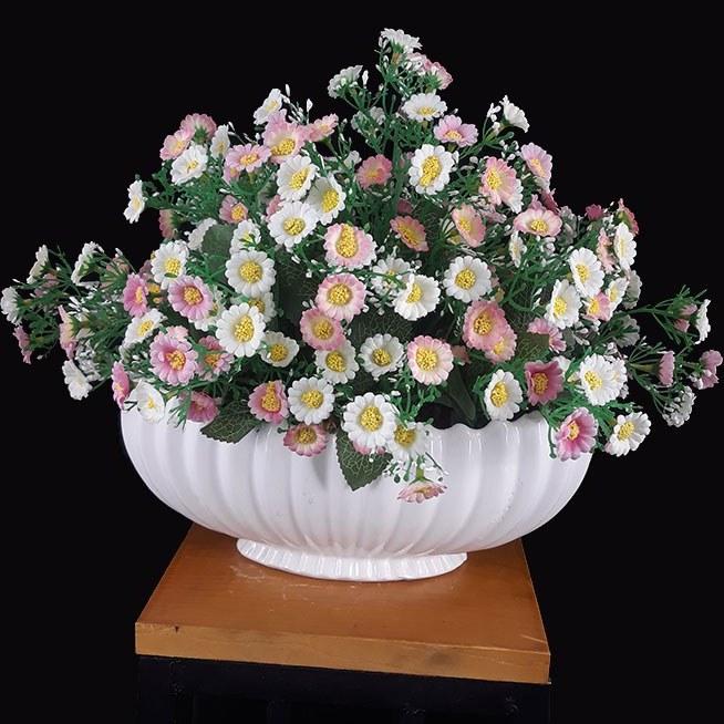 گل بابونه سفید و صورتی مصنوعی و گلدان سرامیکی کد IGF-106 |