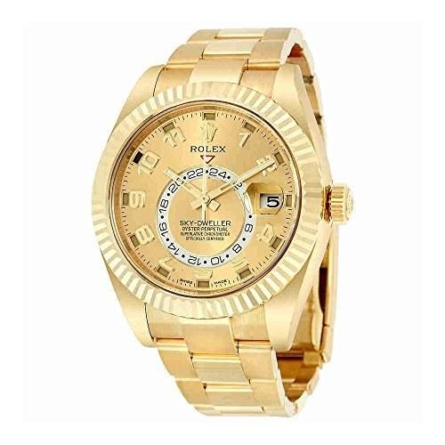 Rolex Sky Dweller شامپاین شماره گیری GMT 18kt ساعت مردانه طلای زرد 326938CAO
