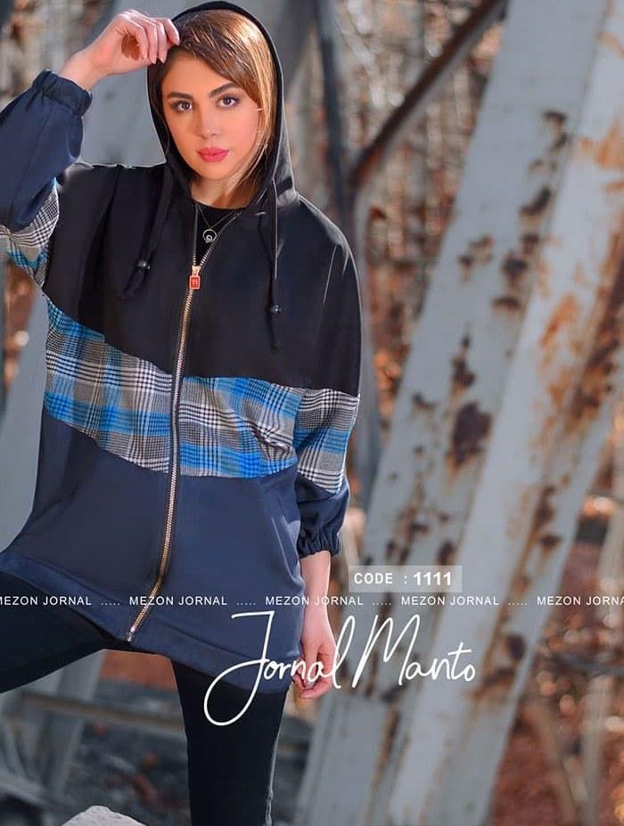 تصویر سویشرت زنانه کلاهدار مدل 1111 مشکی زرشکی 44-46