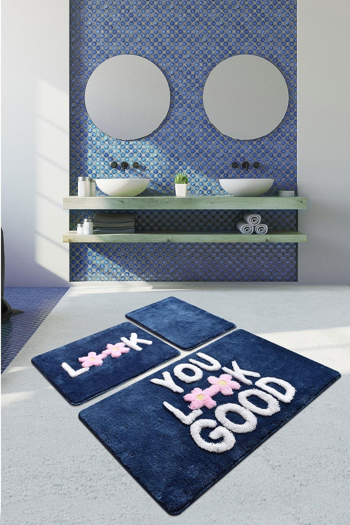 تصویر زیرپایی فرش ست حمام 3تایی آبی برند Chilai Home کد 1616047081
