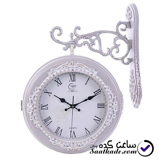 ساعت دیواری الیپس ۳۱۵ دوطرفه سفید بزرگ