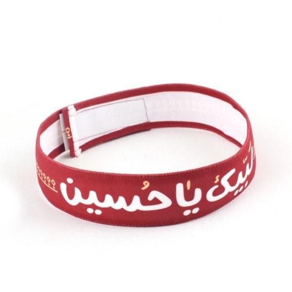 تصویر سربند مخمل کودکانه طرح لبیک یا حسین رنگ قرمز