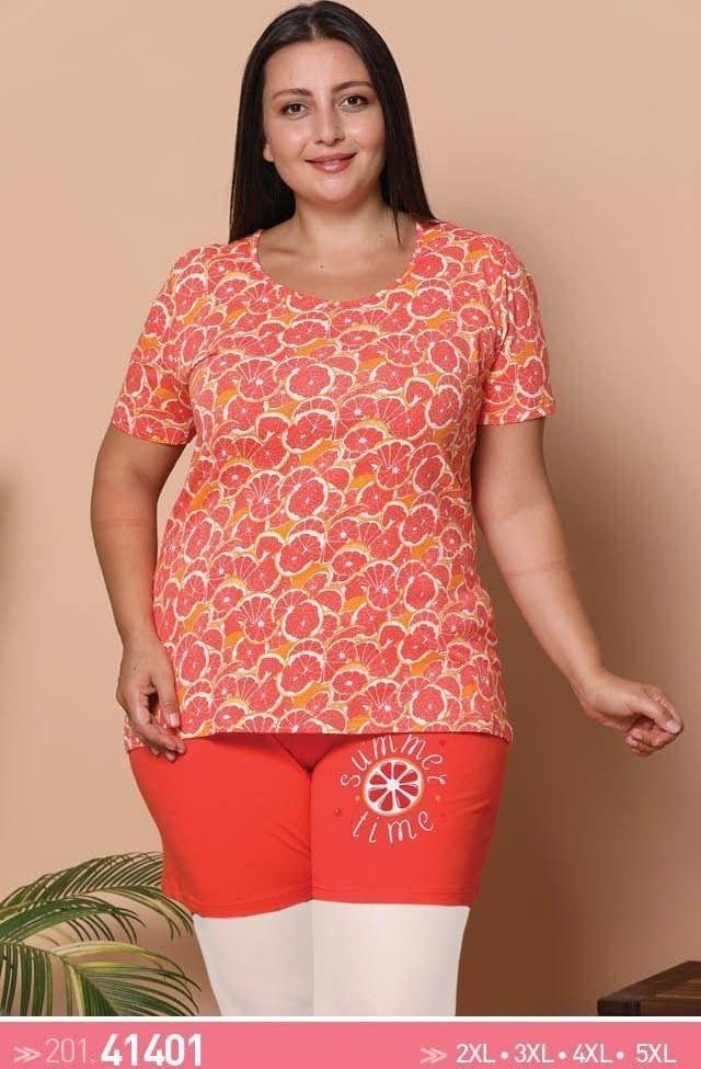 تی شرت و شورت راحتی زنانه سایز بزرگ 41401 ترک