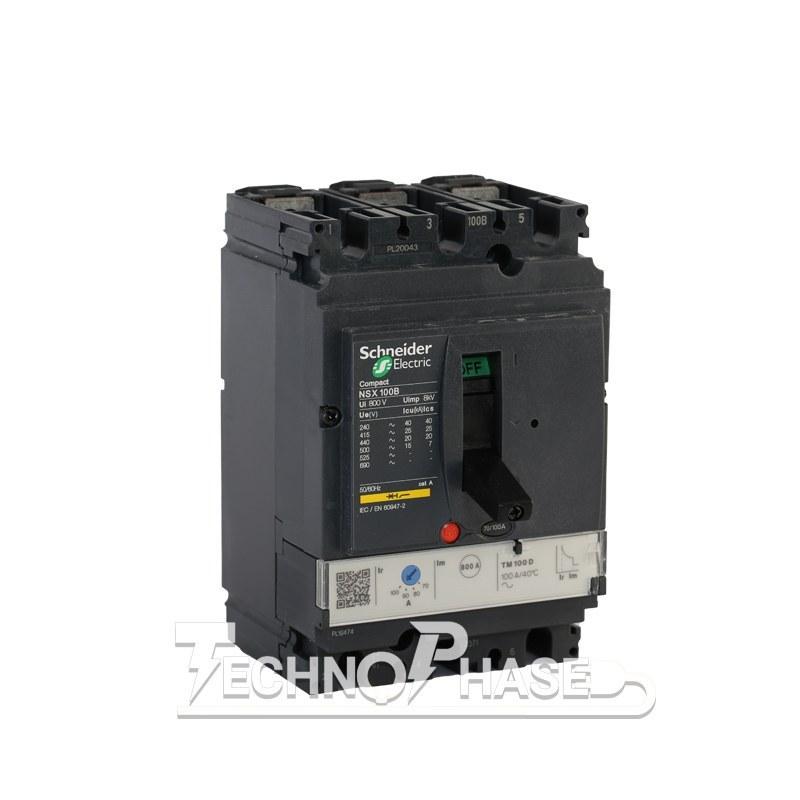 تصویر کلید اتوماتیک کمپکت 100 آمپر قابل تنظیم حرارتي اشنایدر مدل NSX