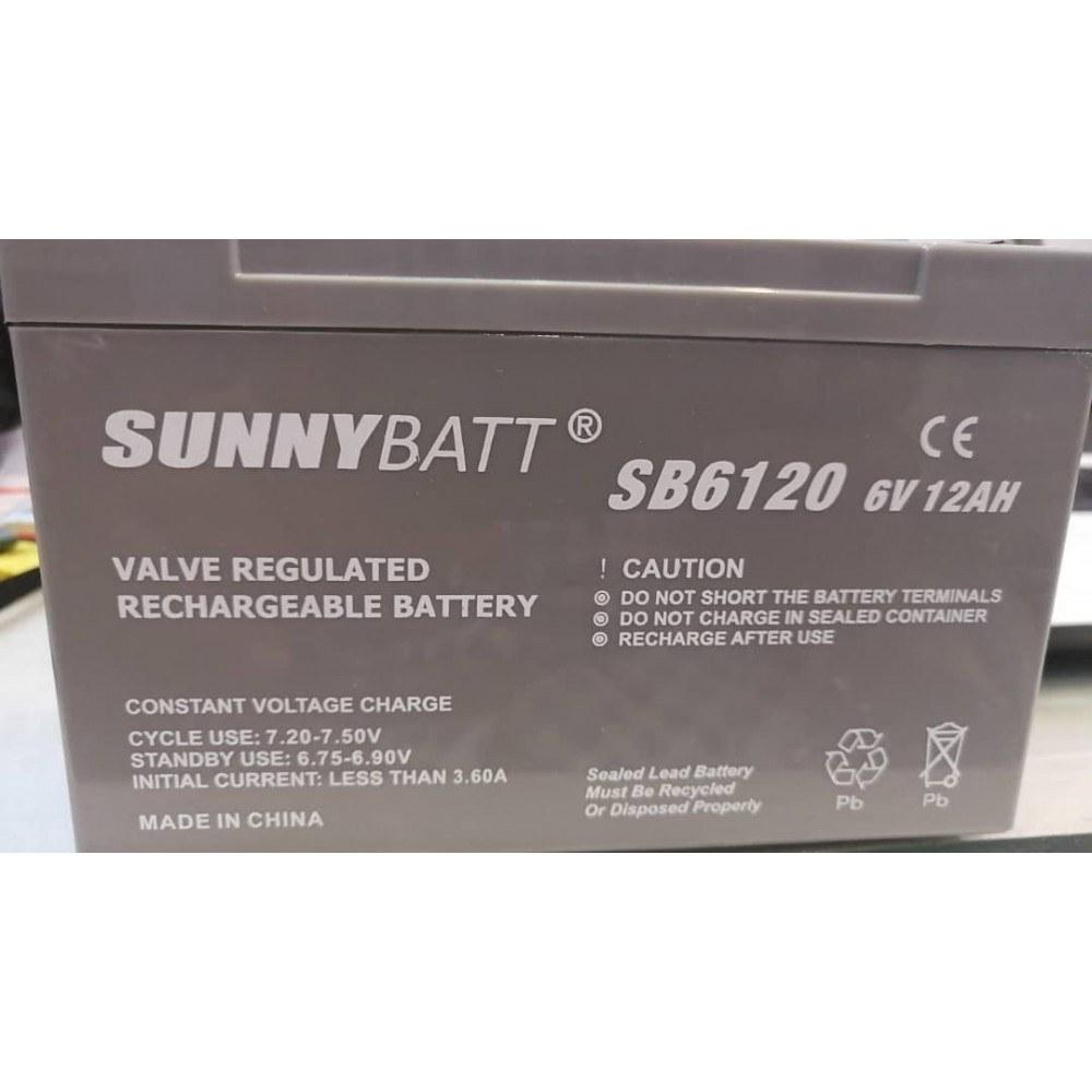 تصویر باتری یو پی اس 6 ولت 12 آمپر ساعت مارک SUNNY BATT باطری یو پی اس
