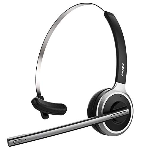 main images هدست بلوتوث Mpow V4.1 هدست بلوتوث / درایور کامیون ، گوشواره بی سیم بدون سر و هدف با میکروفون کاهش صدا برای تلفن ها ، اسکایپ ، مرکز تماس ، دفتر (پخش رسانه ای پشتیبانی)