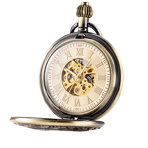Treeweto Classic Roman Numerals Mechanical Watches Pocket Watch with Chain,Bronze