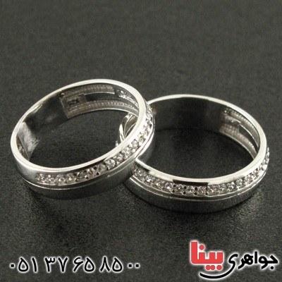 انگشتر نقره ست حلقه ازدواج با روکش پلاتین _کد:۱۵۸۷۲  