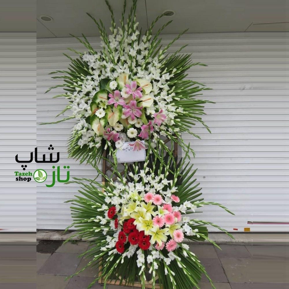 تصویر تاج گل ترحیم دو طبقه 3 متری (ارسال تاج گل به تهران و کرج)