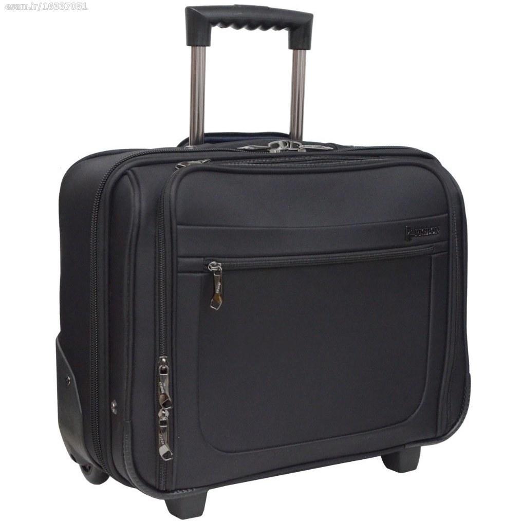 کیف خلبانی پیژون کد 15301 (مشکی) | چمدان خلبانی پیژون دو چرخ دارای دسته تلسکوپی ، محافظ لپتاپ و جیب های متنوع