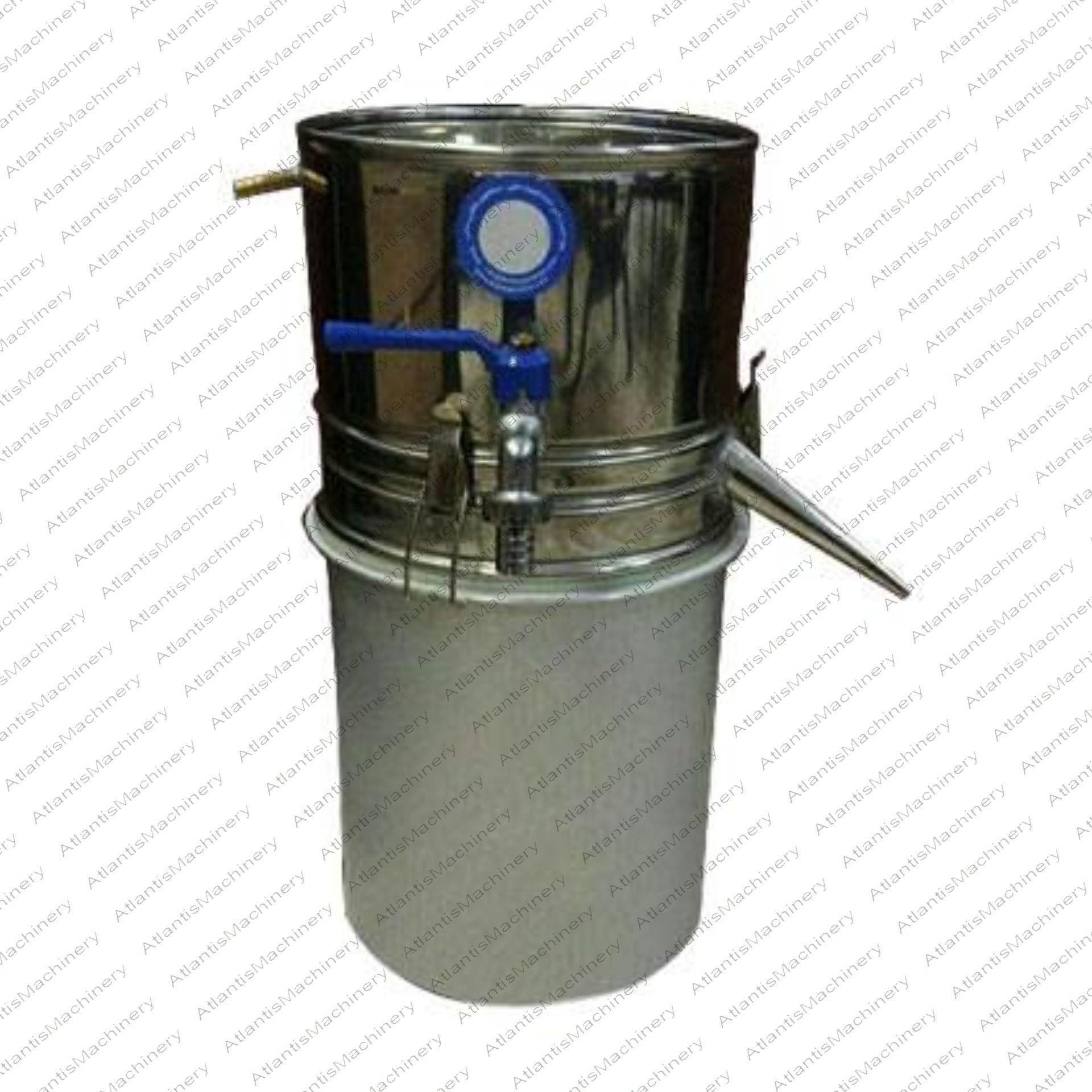 تصویر دستگاه تقطیر(عرقگیر) 10 لیتری سنتی لوله کوتاه با کندانسور(خنک کننده) آبی ایرانی