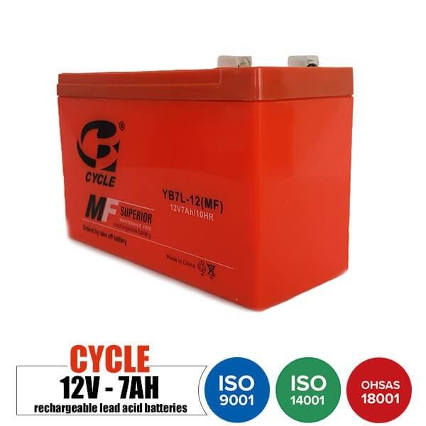 تصویر باتری شارژی 12 ولت 7 آمپر CYCLE مدل YB7L-12MF Rechargeable battery 12 volt 7 Amps CYCLE - YB7L-12MF model