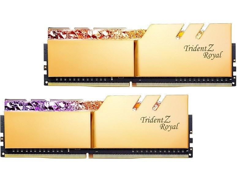 رم دسکتاپ دوکاناله جی اسکیل تریدنت زد رویال با فرکانس ۴۰۰۰ مگاهرتز و حافظه ۳۲ گیگابایت   G.SKILL Trident Z Royal RG DDR4 32GB 4000MHz CL19 Dual Channel Desktop RAM