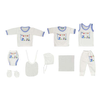 ست 10 تکه لباس نوزادی مهست طرح گربه کد A |