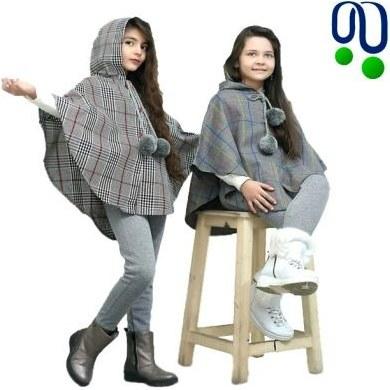 تصویر مانتو پانچ و شلوار دخترانه ایرانی چهار خانه پشمی تولیدی بلو استار کد ۲۱۲۲