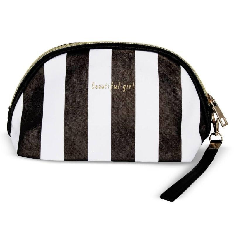 کیف آرایشی بیضی مدل Beautiful Girl-سفید مشکی | Cazmatic Bag Beautiful Girl-Black & White