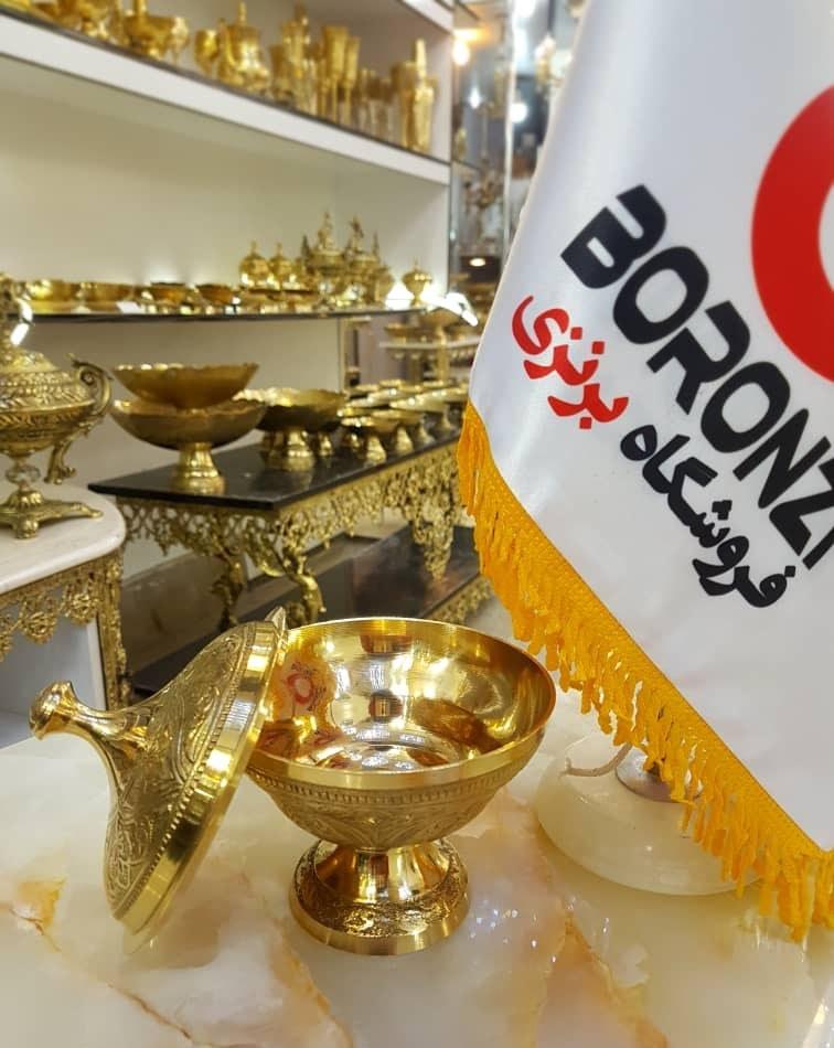 تصویر قندان برنجی هندی پایه دار