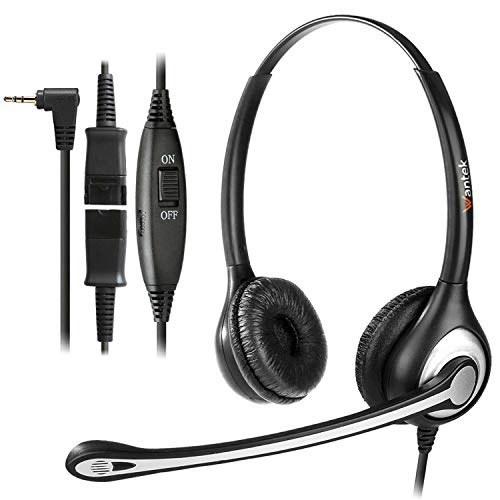 main images هدست تلفن سیمی Wantek با دو گوش با جک 2.5 میلی متری ، میکروفون قطع صدا و قطع اتصال سریع ، برای تلفن های بی سیم AT Wantek Wired Telephone Headset Dual Ear with 2.5mm Jack, Noise Cancelling Mic, Quick Disconnect, for Cordless Phones AT&T ML17929 ML17939 TL86103 Panasonic KX-DT543 KX-T7730 Vtech RCA Cisco (602QJ25)