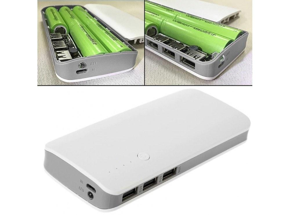 تصویر کیس پاوربانک سه خروجی USB به همراه برد 5 باتری