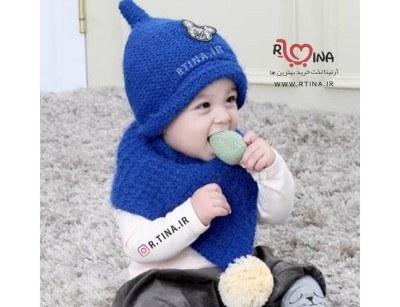شال و کلاه بافتنی نوزادی مدل e3
