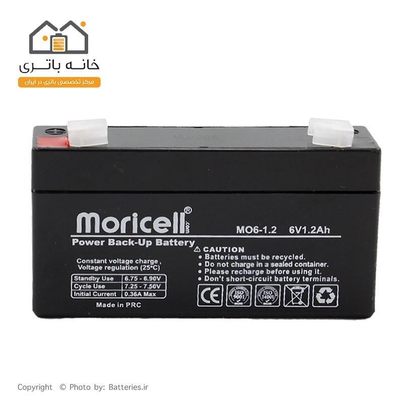 تصویر باتری سیلد اسید 6 ولت 1.2 آمپر موریسل Moricell