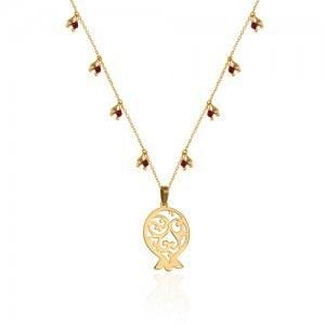 گردنبند طلا انار با زنجیر مزین به گوی طلا و سنگ گارنت کد XN301 | گردنبند طلای زنانه طرح انار یلدا با زنجیر زیبای دست ساز با آویزهای گوی طلا و سنگ گارنت