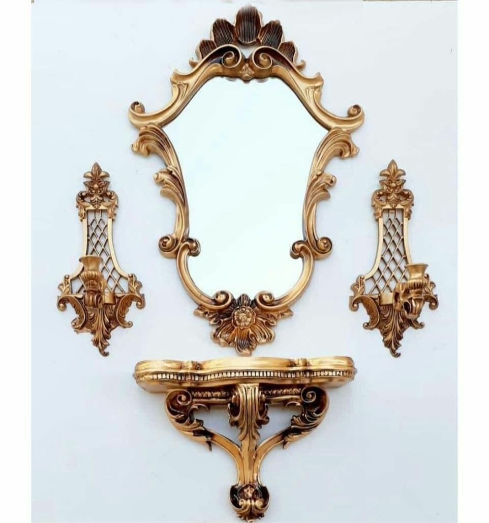 تصویر کد 6-286 ست آینه و کنسول و شمعدان طرح گلبرگ