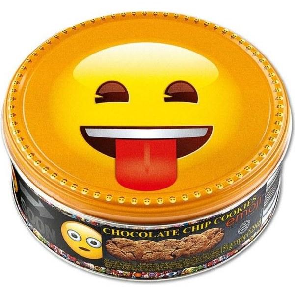 بیسکویت کوکی جعبه فلزی با تکههاي شکلات جاکوبسنز مدل اموجی مقدار 150 گرم | Jacobsens Emoji Cookies
