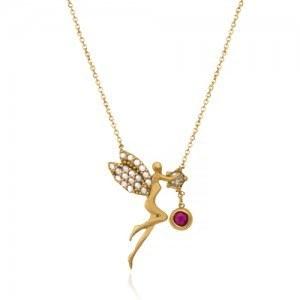 گردنبند طلا زنانه طرح فرشته با نگین cz کد cn351 | نگین های گردنبند از نوع کوبیک زیرکونیا (cz) و یک عدد مارکو به رنگ قرمز گارنت ، اندازه زنجیر 45 سانتی متر