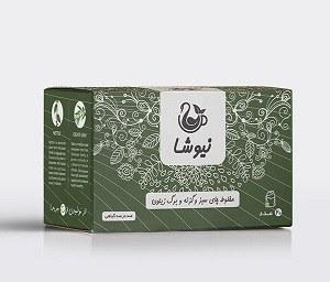 تصویر مخلوط چای سبز و گزنه و برگ زیتون کیسه ای نیوشا