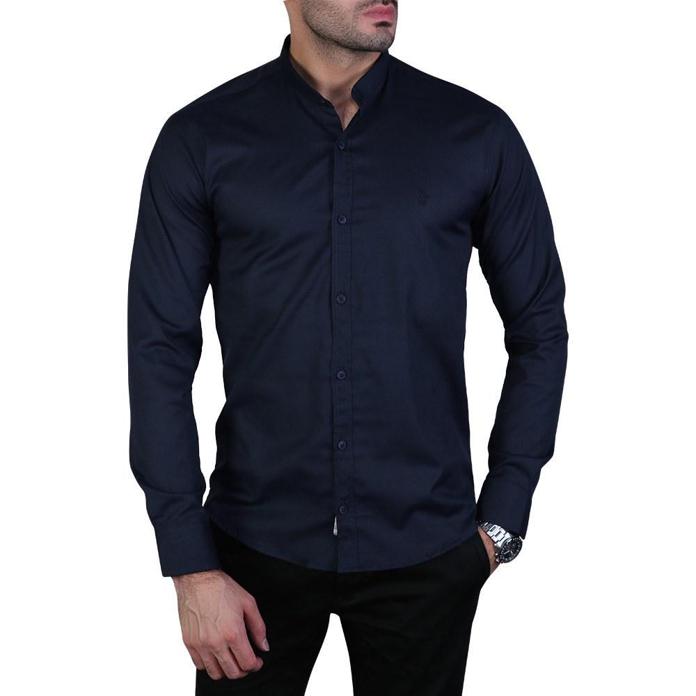 پیراهن مردانه آستین بلند یقه دیپلمات سرمه ای