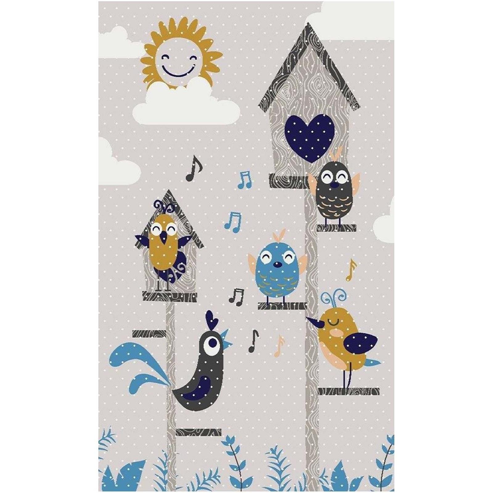 تصویر فرش 400 شانه کودک طرح پرندگان شاد